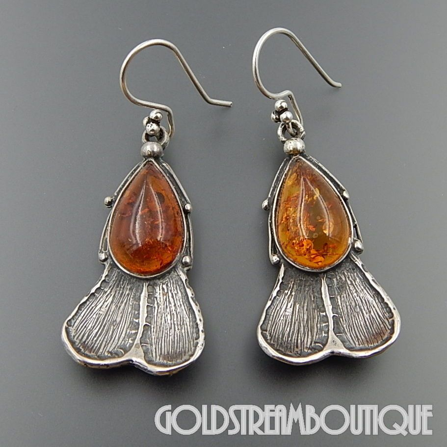 Baltic Honey Amber and Sterling Silver Tear-drop Earrings J6Ng0