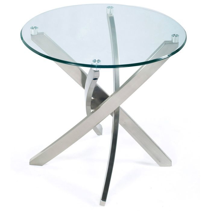 Zila Contemporary Brushed Nickel Round End Table With Gl