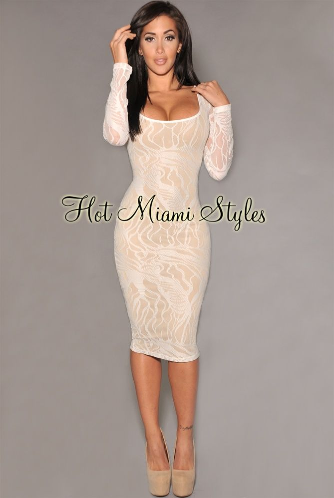 a68fb060b00d Ivory Mesh Nude Illusion Long Sleeve Knee-Length Dress