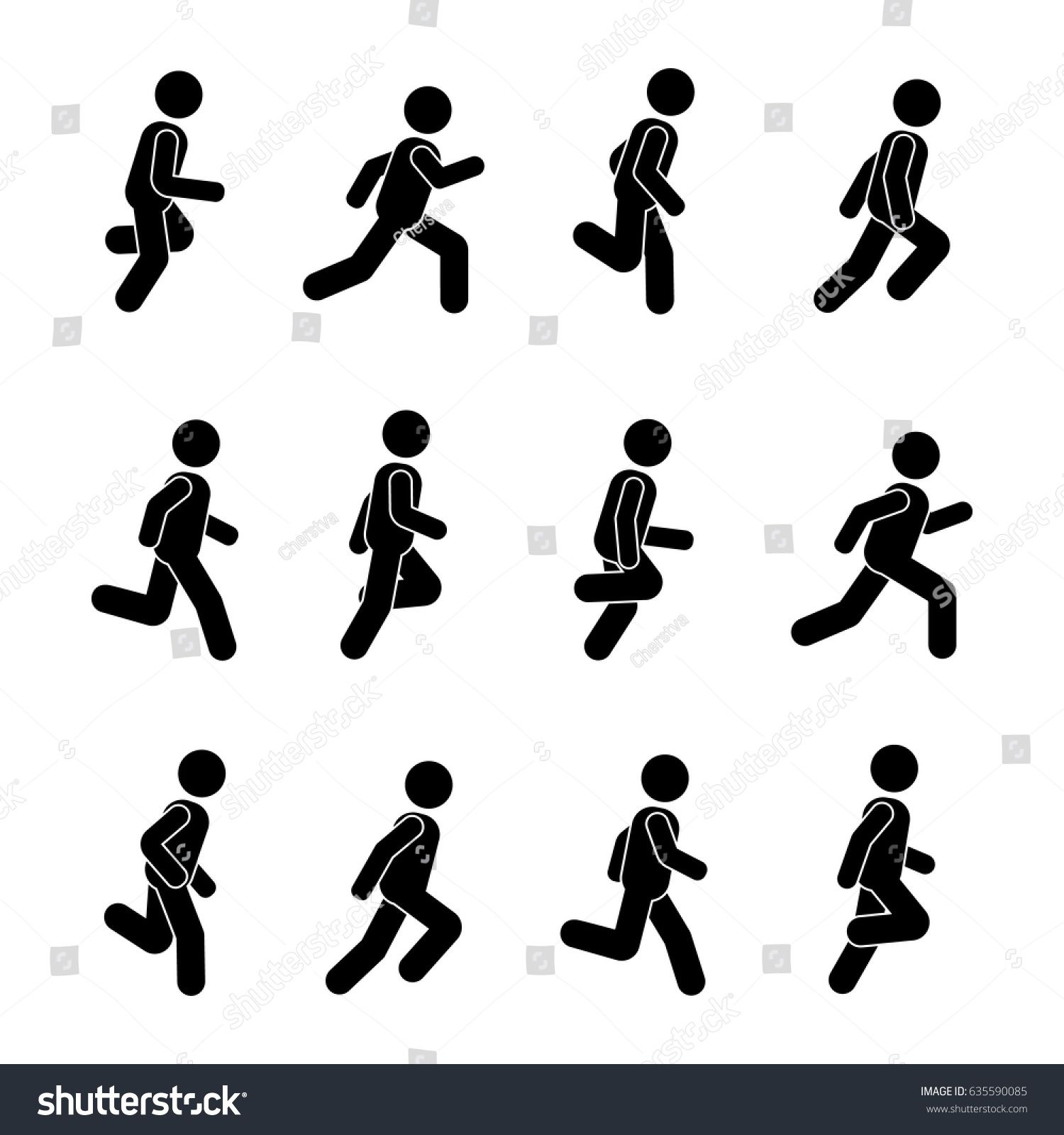 Man People Various Running Position Posture Stick Figure Vector Illustration Of Posing Person Icon Symbol Sig Stick Figure Running Running Symbol Person Icon