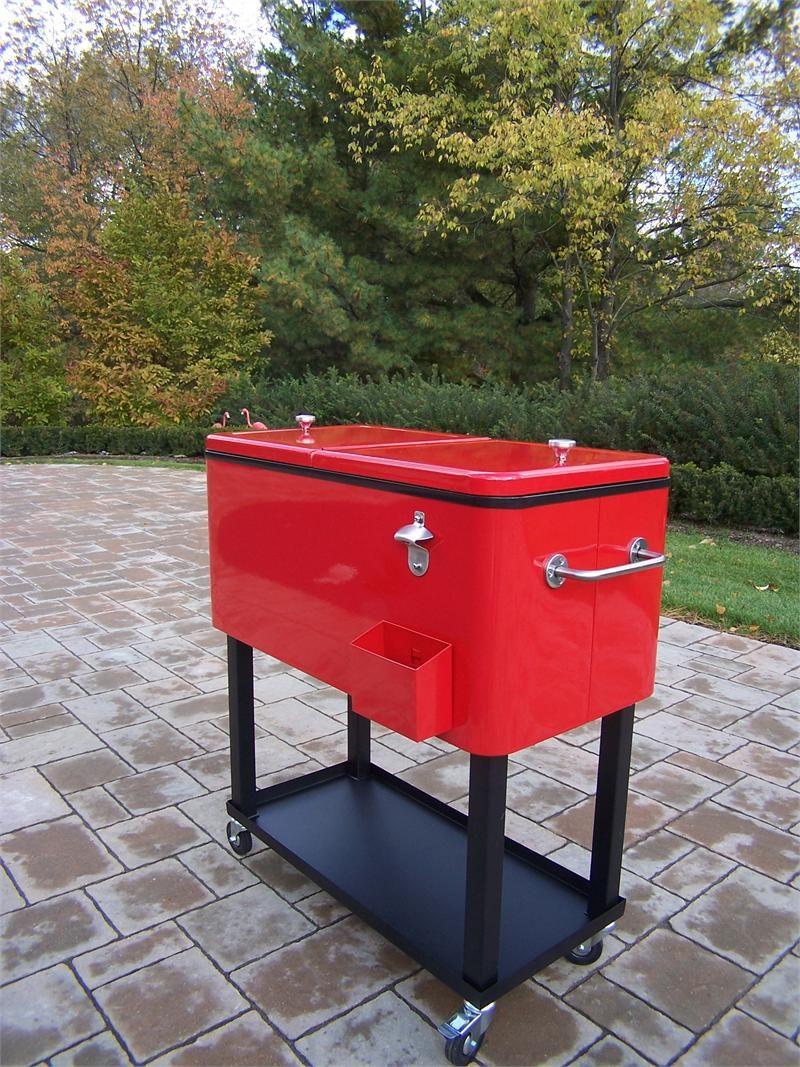 Patio Rolling Cooler Cart: Cool Retro 80-Quart Rectangular Steel Patio Cooler (Red
