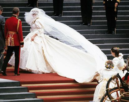 Diana's Train to Fame: Diana's wedding gown, designed by Elizabeth Emmanuel, boasted hand-embroidered lace, sequins, and 10,000 pearls. The 25-foot train barely fit in the glass carriage she rode in to her wedding at St. Paul's Cathedral.