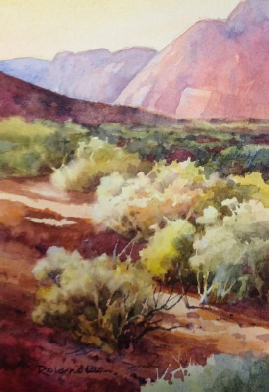 Roland Lee Watercolor Utah Desert Watercolor Art Desert
