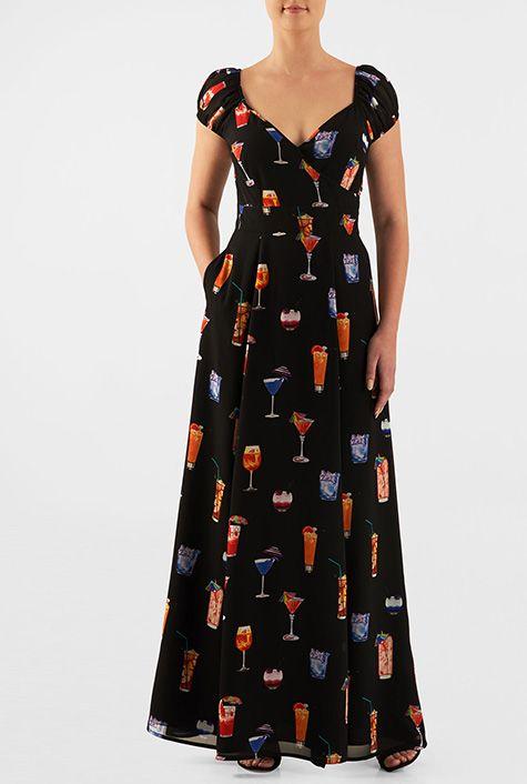 8cc955d08895 I  3 this Wine cooler print georgette surplice maxi dress from eShakti