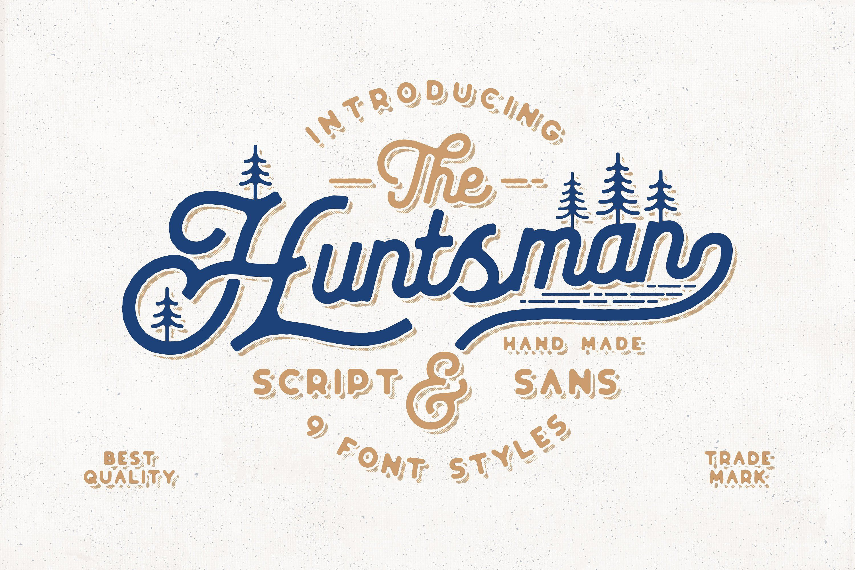The Huntsman Script Font Duo This Typeface Consist With 2 Different Style Script And Sans These Two Vintage Script Fonts Best Fonts For Logos Vintage Fonts