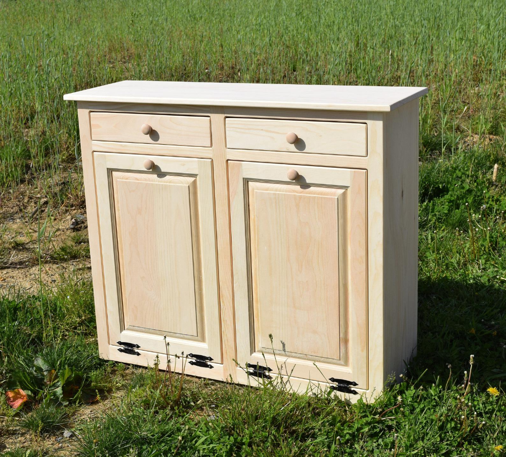 Trash Cabinet Double Trash Bin Tilt Out Door Wood Trash Etsy In 2020 Trash And Recycling Bin Wood Trash Can Recycling Bins