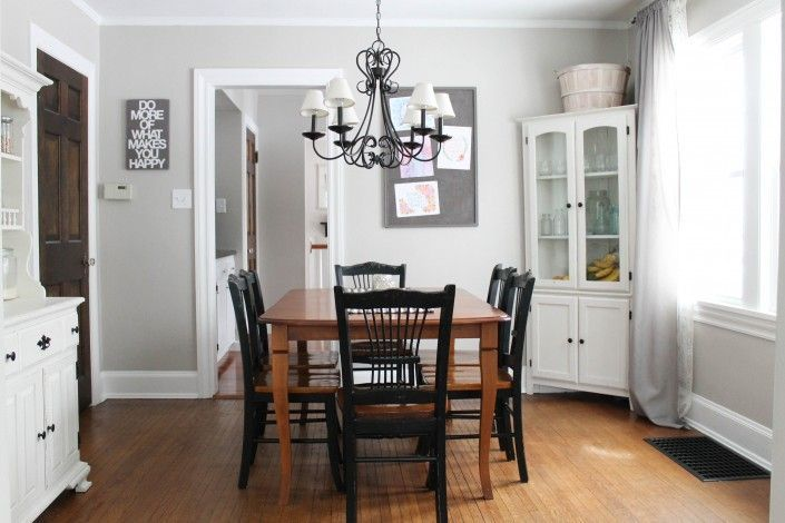 sharkey-gray-paint-color  like white painted cabinet.  like chandelier.