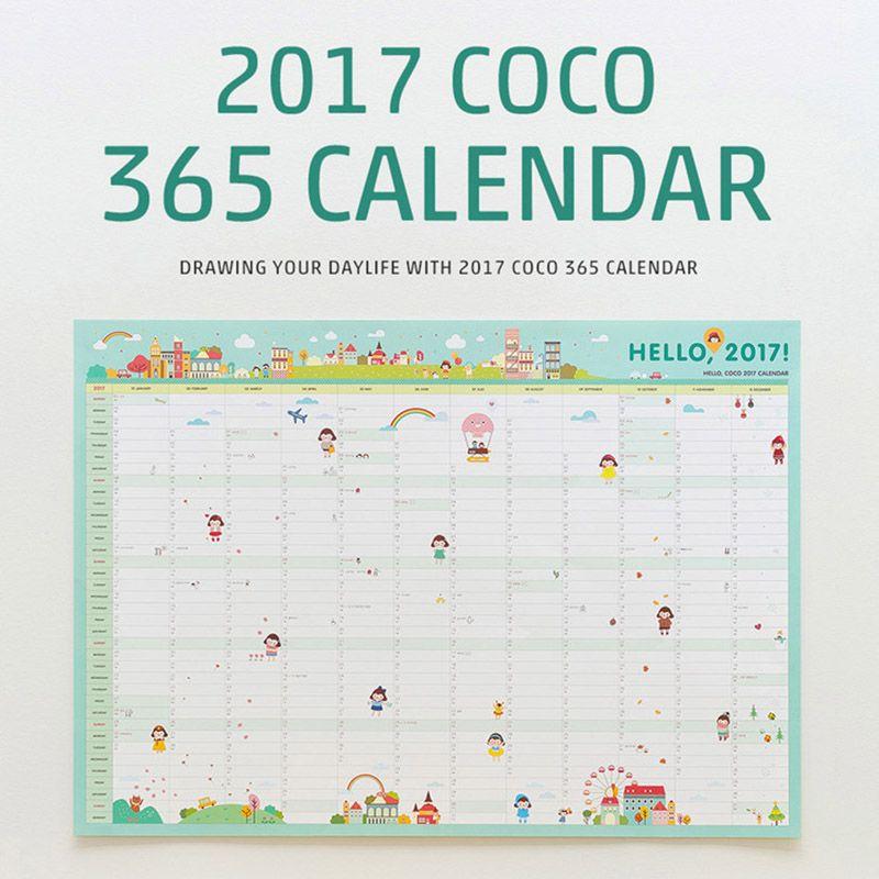 Cute Kawaii Perpetual Calendar One Year Countdown Planner