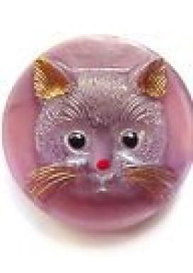 Vintage Pink Kitty Cat Bohemian Glass Button with shank back