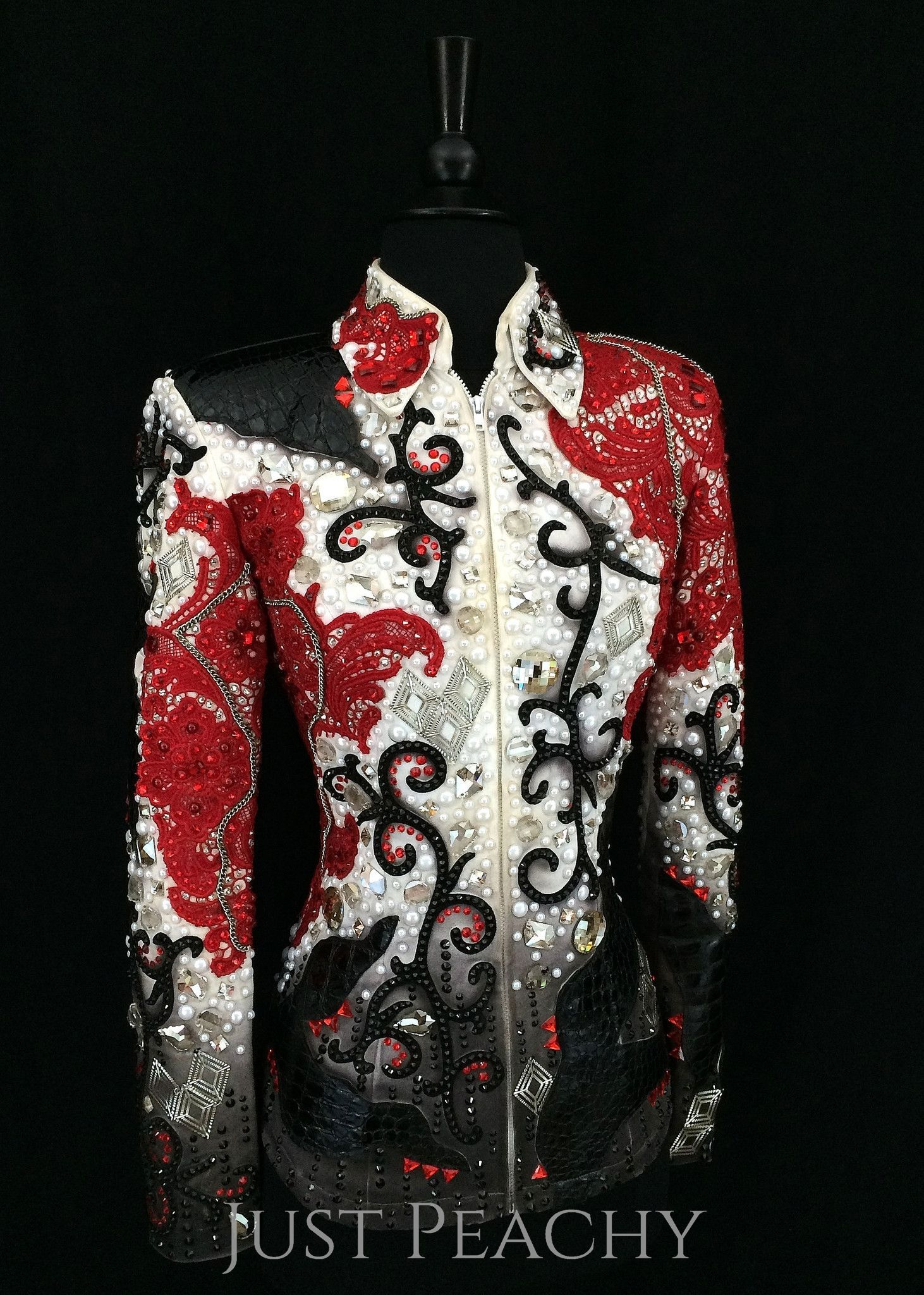 "Gently used, one-of-a-kind showmanship jacket by Lindsey James Show Clothing Approx Ladies XS with slight stretch Item # 6771 Bust: 35"" Waist: 28"" Hip: 36"" Shoulder Width: 16"" Sleeve Length: 24.5"" Bac"