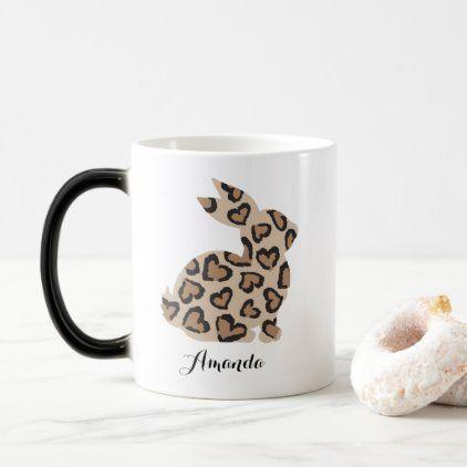 Cute Leopard Print Bunny with Custom Name Magic Mug