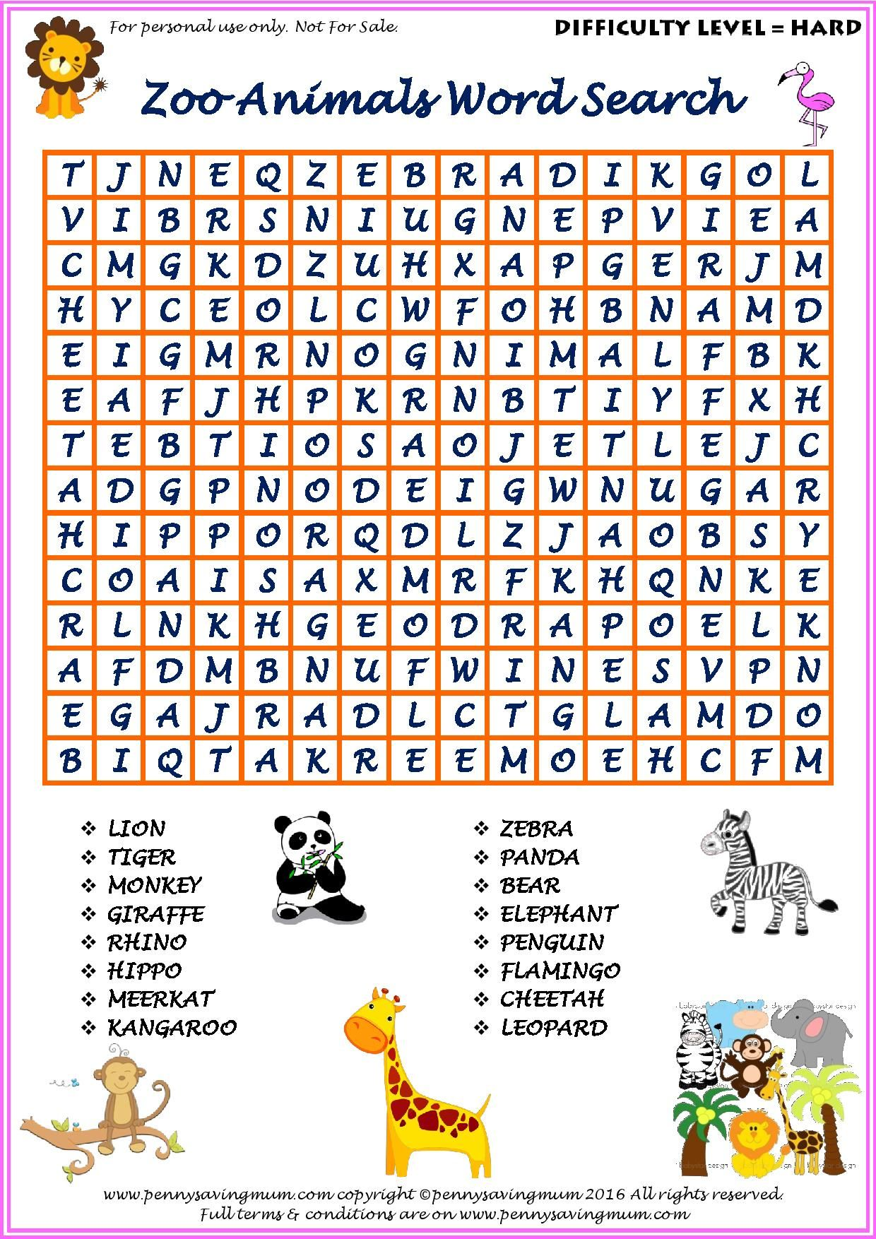 Word Search Zoo Animals Hard Version