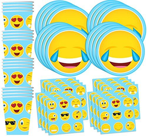 EMOJI PARTY SUPPLIES-cups napkins plates tablecover cutlery balloons hats /& more