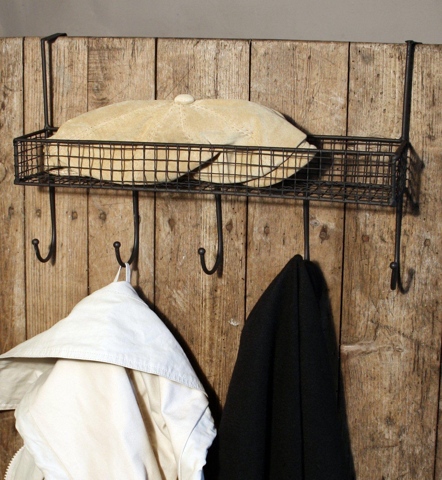 Mesh Over Door Shelf With 5 Hooks Black
