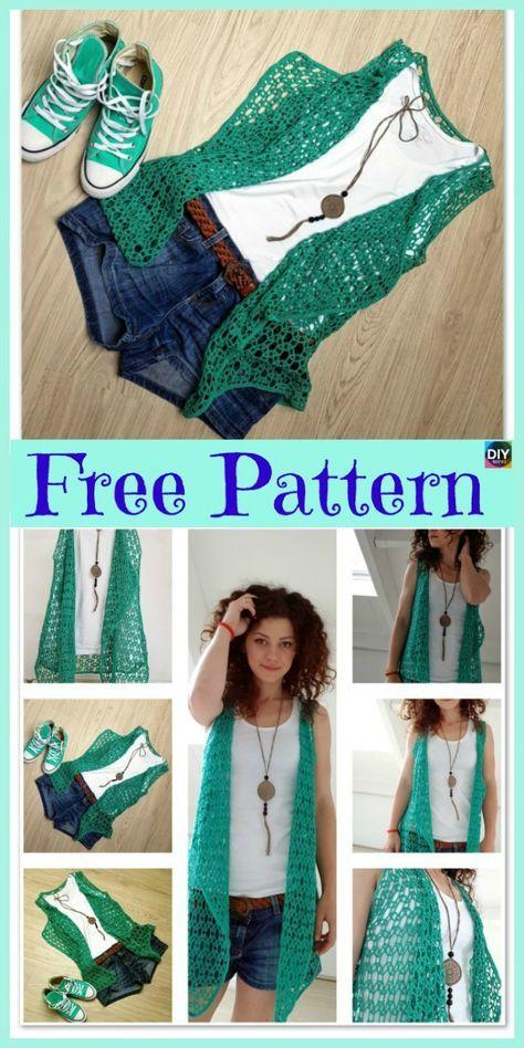 Beautiful Crocheted Summer Vest - Free Pattern #crochetclothes