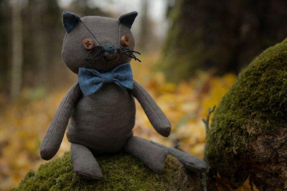 Vanilla toy cat Ecocat Rag Doll Animal doll cat Cat by AbbuToys