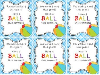 photograph relating to Have a Ball This Summer Printable titled Seashore Ball Stop of 12 months Reward Tag College student presents University student