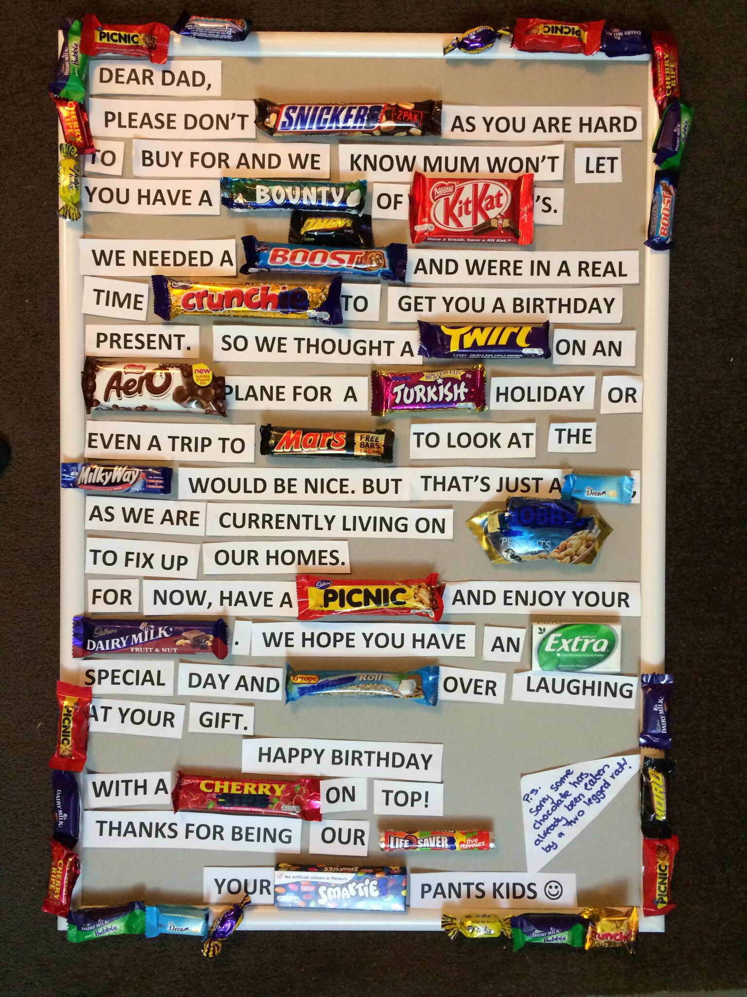 Chocolate card for dad's birthday | Danica's board ...