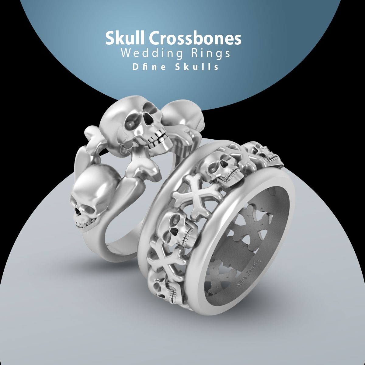 Skull Crossbones Wedding Rings Matching Skull Couple Ring Set Silver Couples Ring Set Wedding Ring Bands Set Wedding Rings Engagement