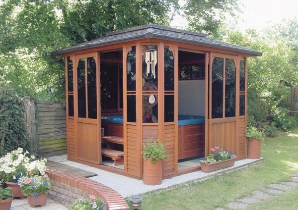 Hot tub shelters google search outside pinterest for Hot tub shelters