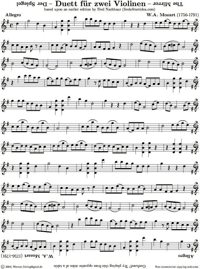 Violin Sheet Music: Der Spiegel (the Mirror) by W. A. Mozart. Look ...