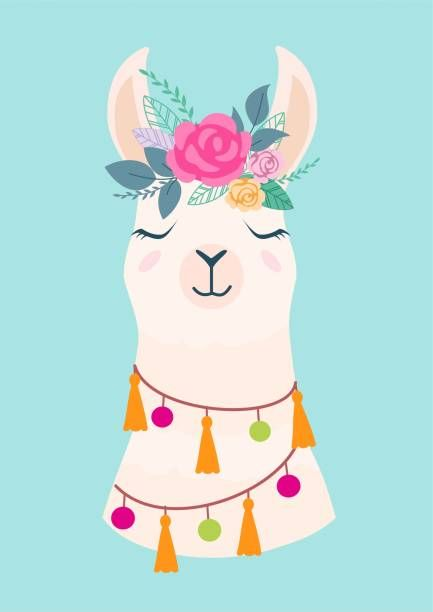 Vector Illustration Of Cute Cartoon Llama With Flowers