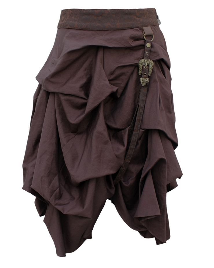 Geraffter Steampunk Rock mit Riemen Braun  Mittelalter Larp Vintage Skirt dress #emodresses