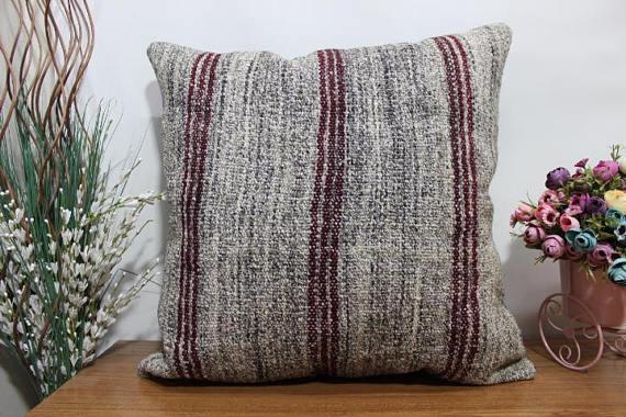 Red striped large kilim pillow 24x24 turkish floor cushion bohemian ...