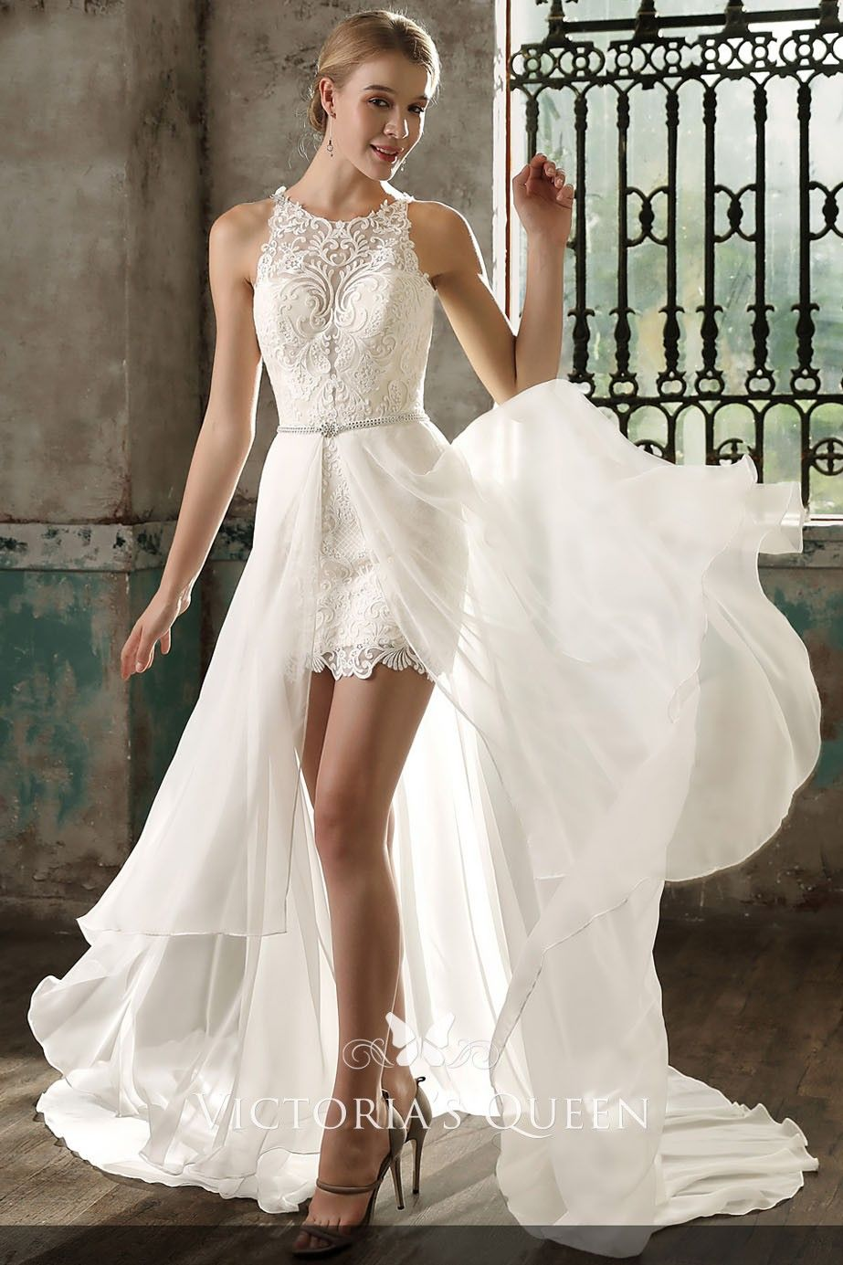 Ivory Lace And Chiffon Overskirt Short Wedding Dress Mini Wedding Dresses Wedding Reception Dress Wedding Dresses High Low [ 1385 x 923 Pixel ]