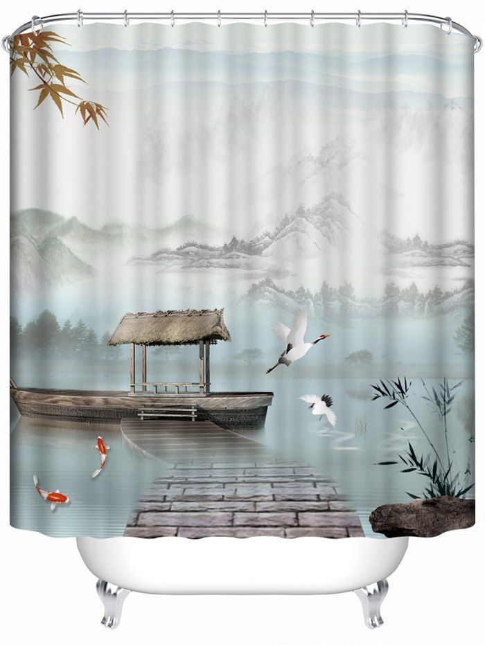 Chinese Style Landscape Bathroom Shower Curtain Shower Curtain