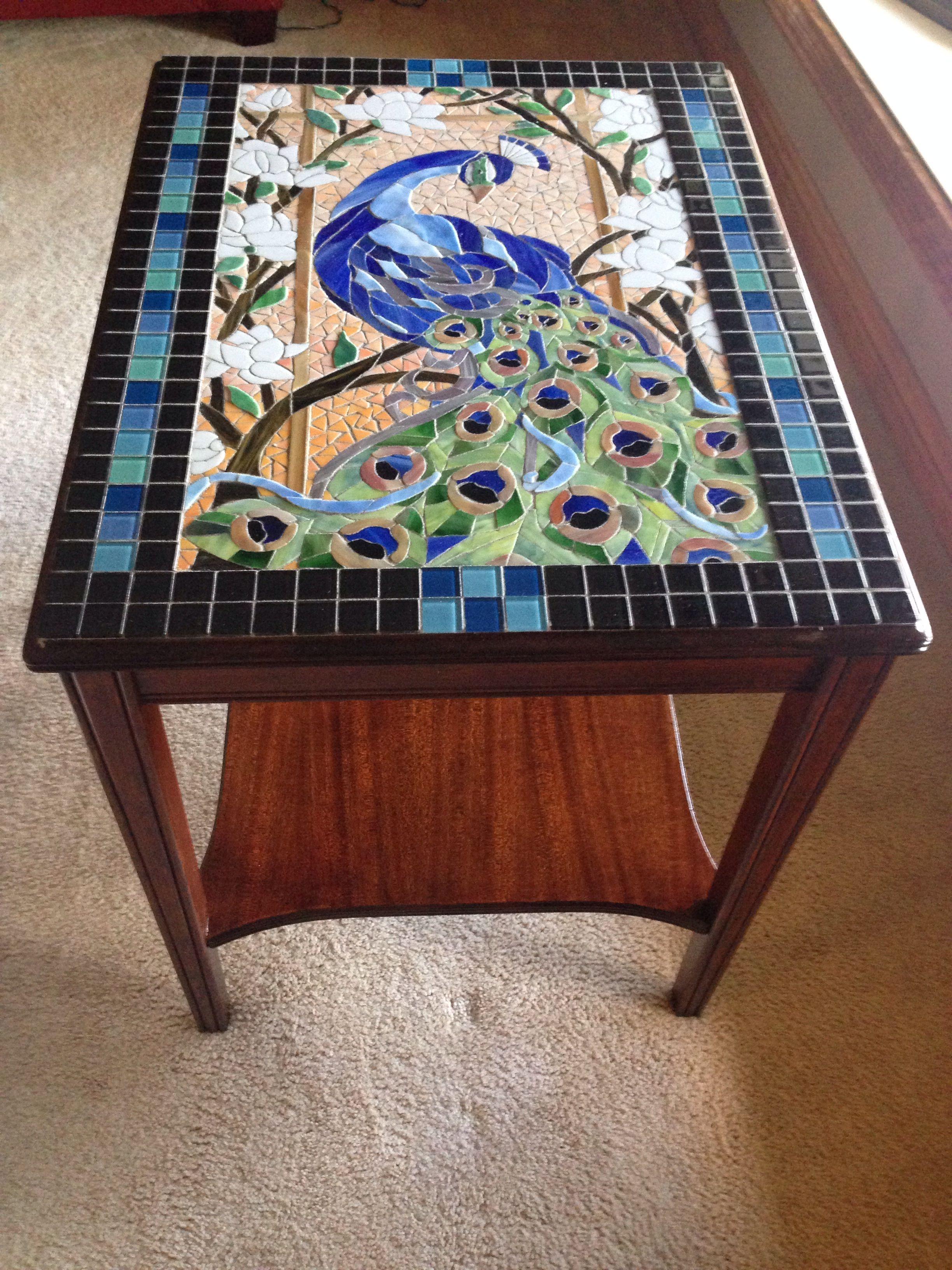 Peacock Stained Glass Mosaic Table by Melissa Czekaj