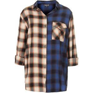 TOPSHOP Oversize Contrast Check Shirt