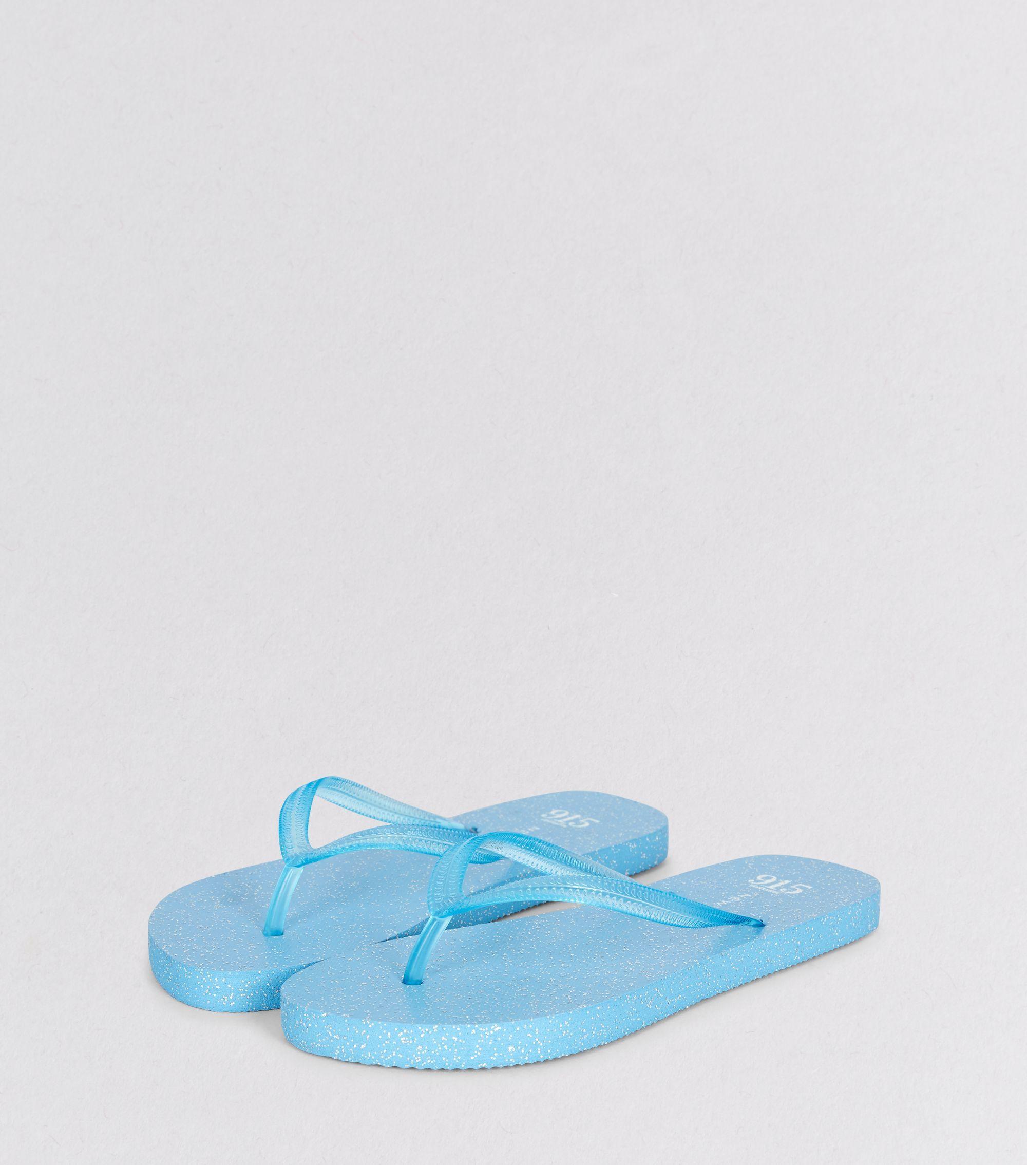 Teens Blue Glitter Flip Flops   New