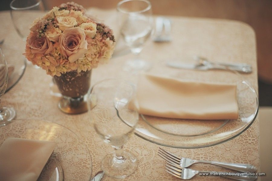 Small Pink Floral Centerpiece Of Hydrangea Roses And Sedum In