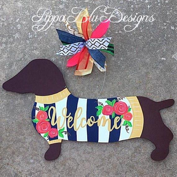 Dachshund Decor Dog Door Hanger Stripes And Flowers Dog Door Sign