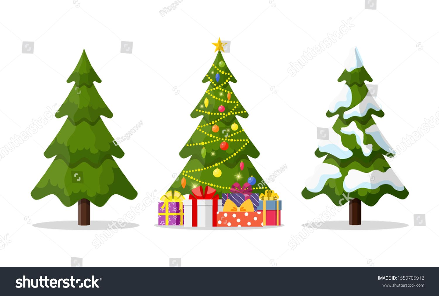 Christmas Tree In 3 Different Situations Christmas Tree And Holiday Gifts Fir Tree Decorated With A Star Balls Tree Decorations Christmas Ornaments Holiday