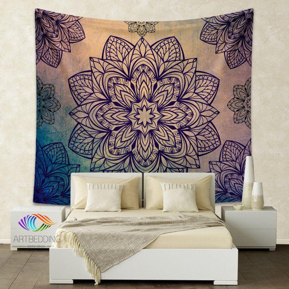 Bohemian Tapestry, Lotus Mandala tapestry wall hanging ...