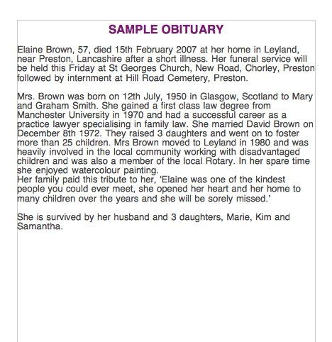 Sample Obituary  Misc    Newspaper Obituaries And Template