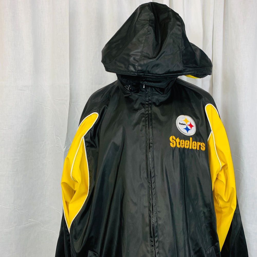save off 895cc 534ef Mens NFL Pittsburgh Steelers Hooded Coat Size Large Yellow ...