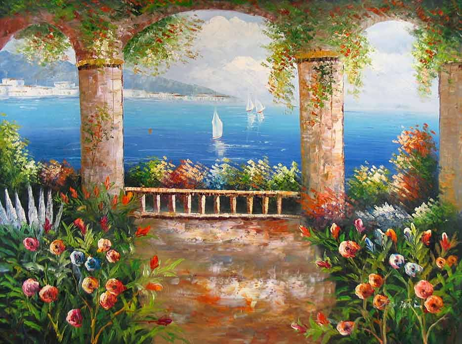 a86ec2d11 ocean and flowers paintings | ... painting reproductions - Mediterranean  Sea, oil paintings on canvas