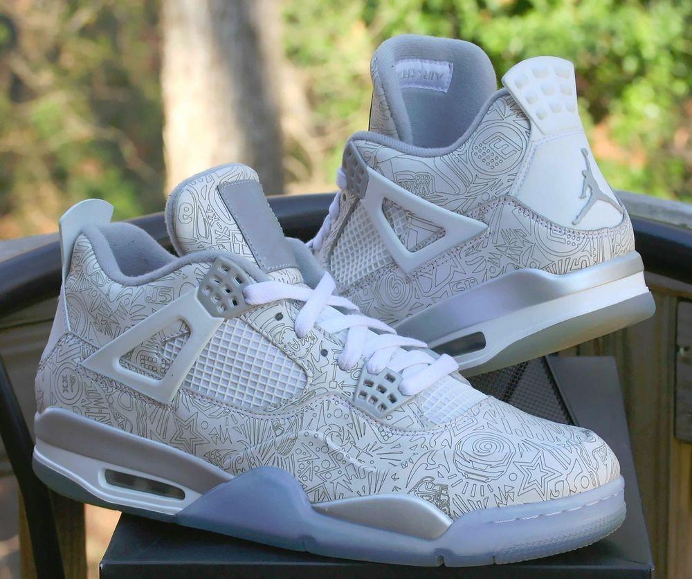 Nike Air Jordan Retro 4 IV Laser White Chrome Metallic Silver 705333-105  Size 11  Nike  BasketballShoes a5f30d07fa51