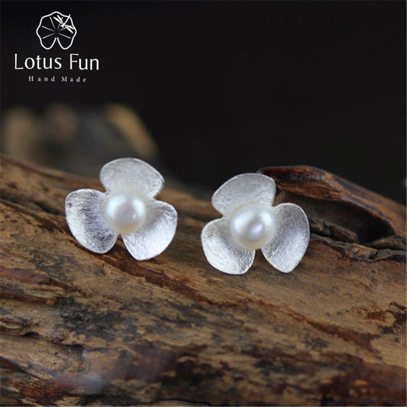 925 Sterling Silver Pearl Gemstone Stud Earring,Handmade Women Earring