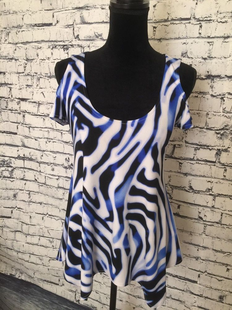 Women Boston Proper White Blue Black Open Shoulder Shirt ...