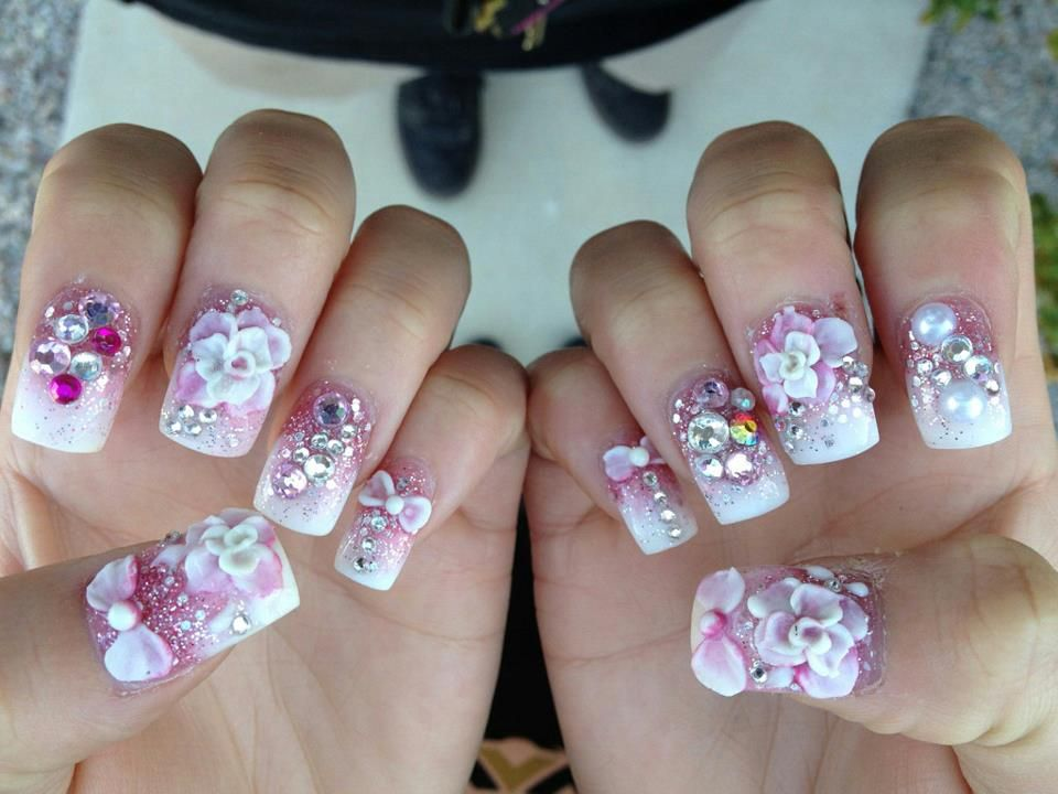 My nails. 3d nail art with pink fade and silver glitter. Done at ...