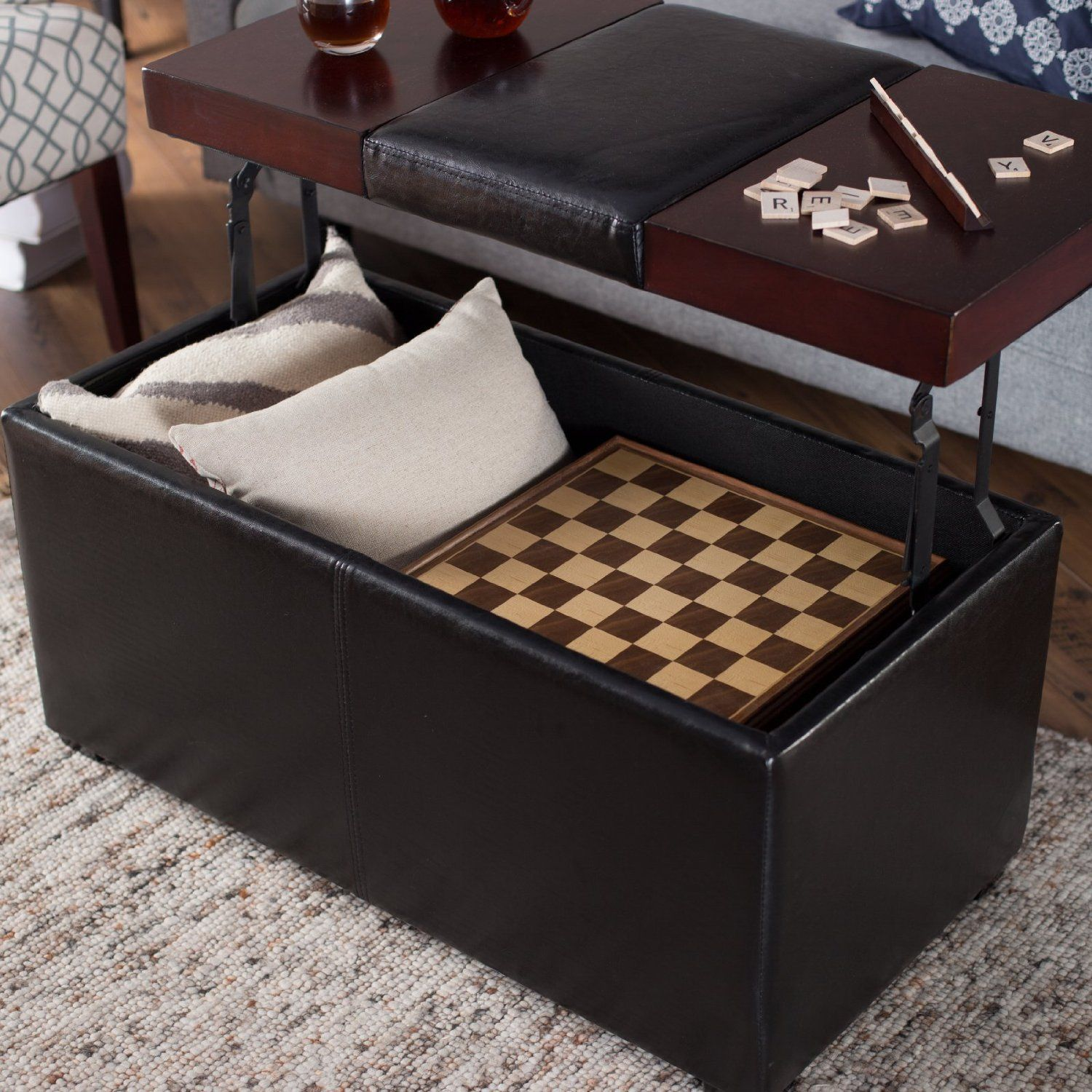 Robot Check Storage Ottoman Coffee Table Leather Coffee Table Upholstered Storage [ 1500 x 1500 Pixel ]