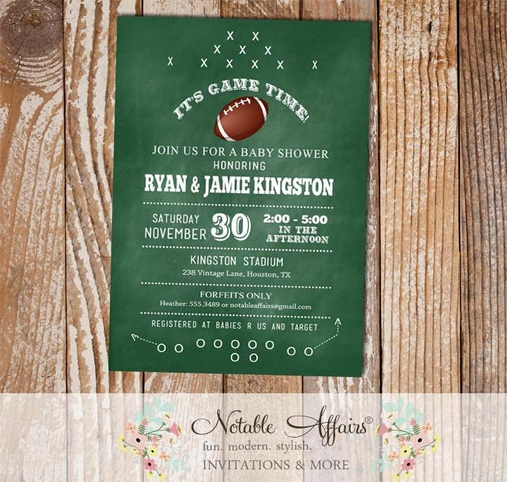 Chalkboard Football Play Baby Shower Invitation | Baby Shower ...