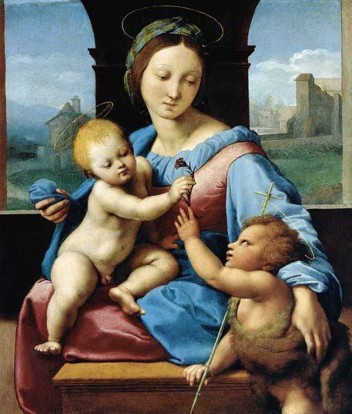 (Raffaello) Raffaello Sanzio-Madonna with child and St. of Johannes (Madonna Aldobrandini)