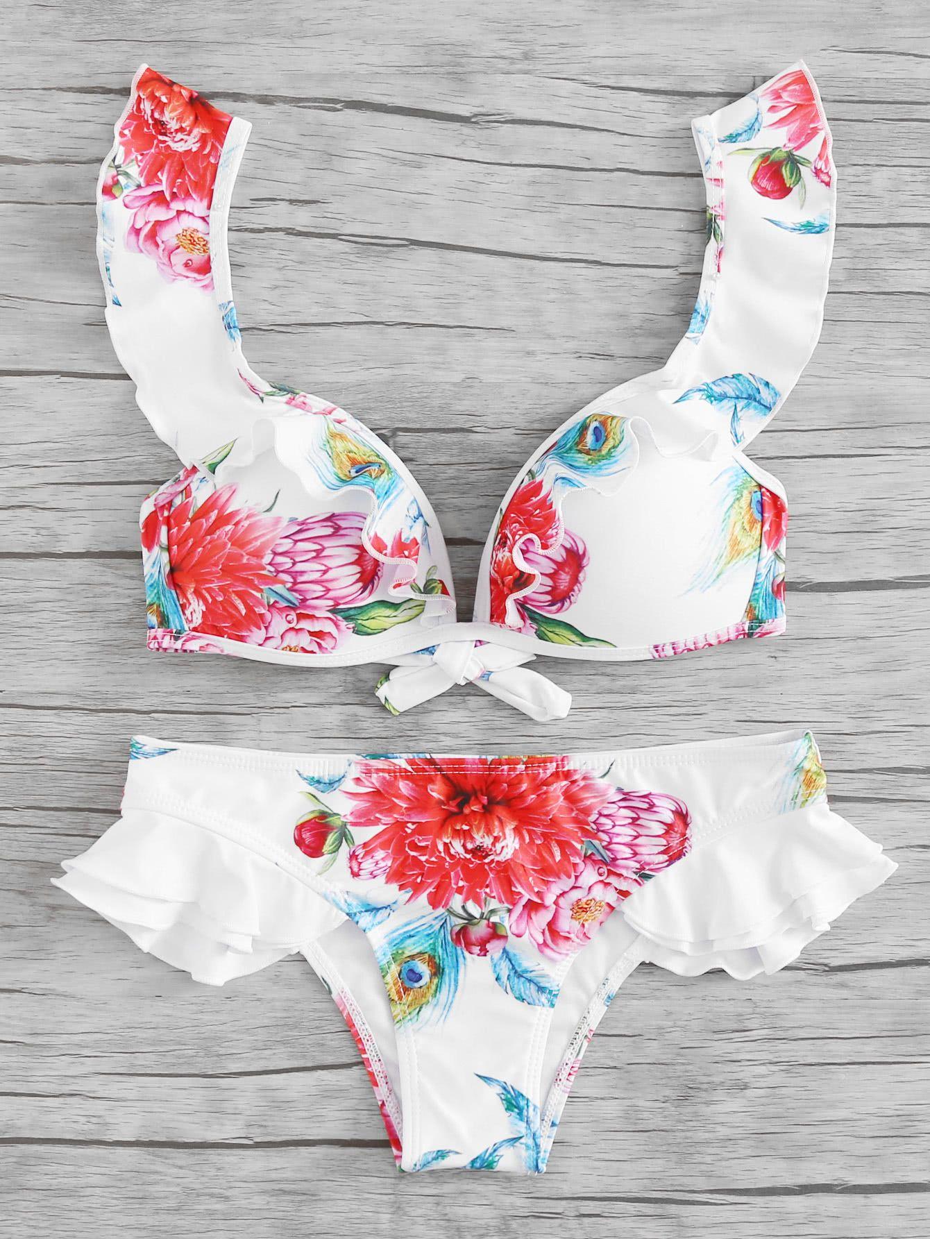 8eebd3eb95 Ruffle Trim Flower Print Top With Hipster Bikini Set in 2019