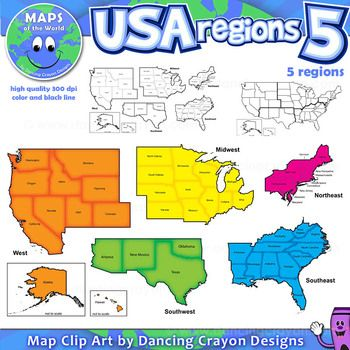 Regions Of The USA Five Regions Map Clip Art Clip Art Social - Map of the 5 regions of the us