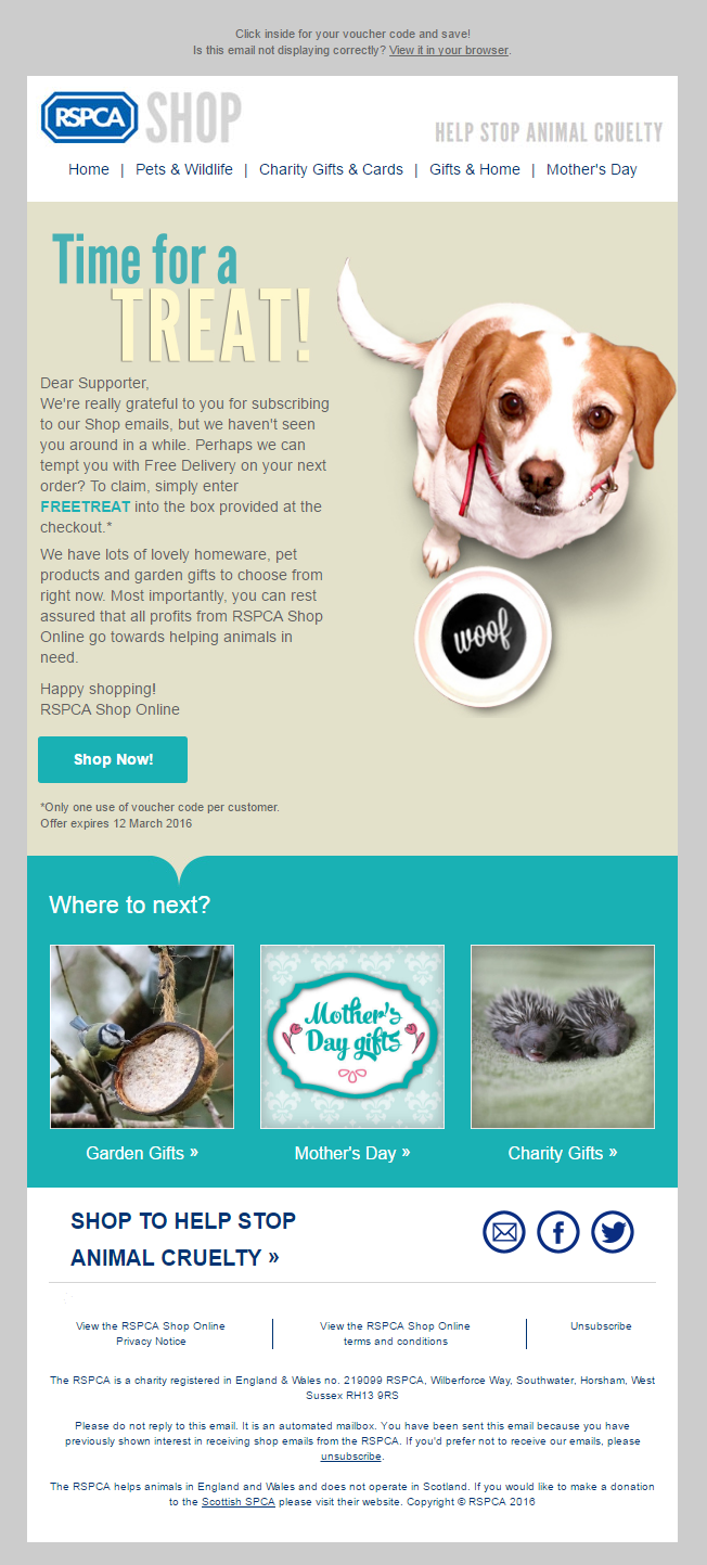 Rspca Shop Coupon Code For Free Delivery Email Marketing Emailmarketing Charity Animals Pets Free Delivery Shipping Charity Gifts Gifts Cards Shopping
